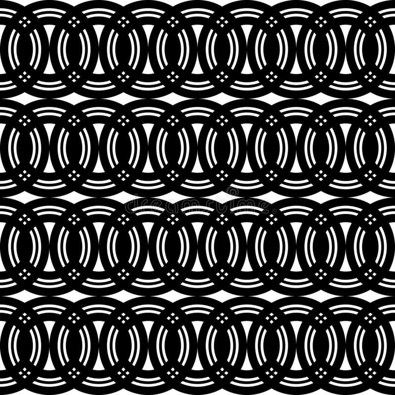 Design seamless chain pattern. Abstract monochrome circle background. Vector art stock illustration