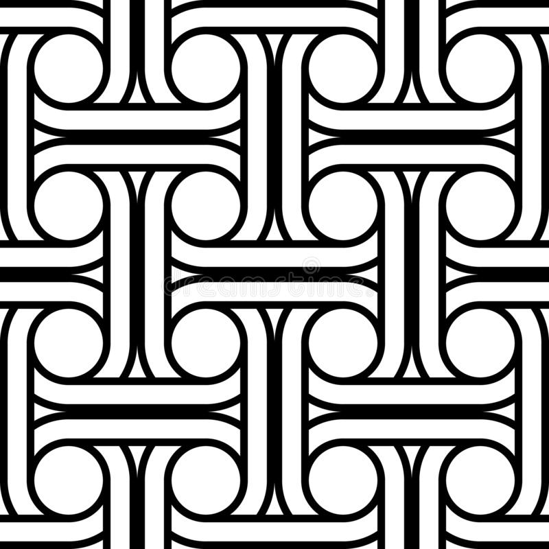 Design seamless interlaced pattern. Abstract monochrome circle background. Vector art vector illustration