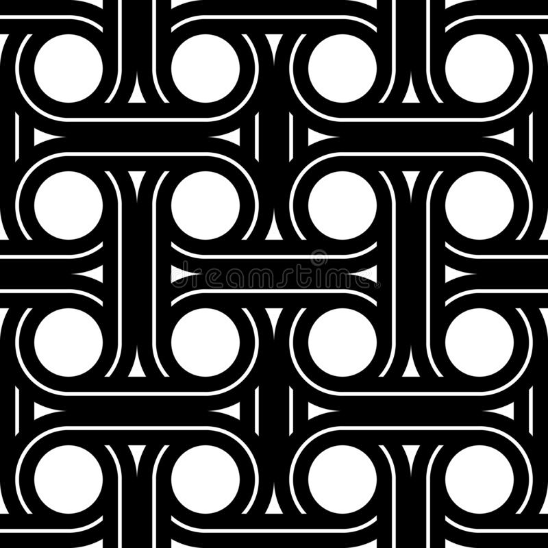 Design seamless interlaced pattern. Abstract monochrome circle background. Vector art royalty free illustration