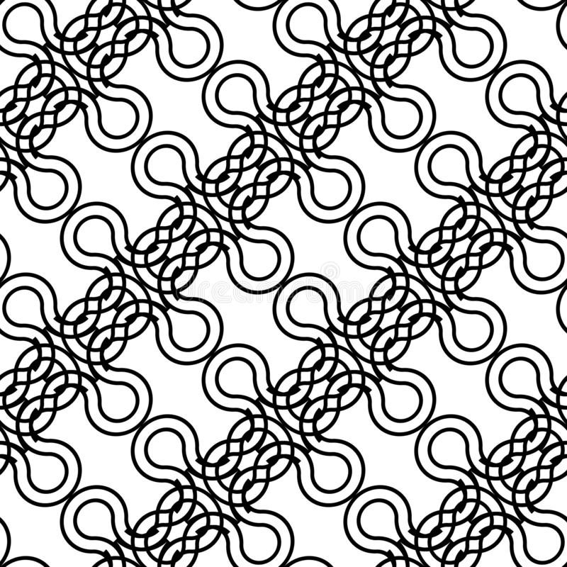 Design seamless monochrome decorative braid pattern 向量例证