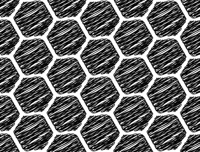 Design seamless monochrome hexagon pattern stock illustration
