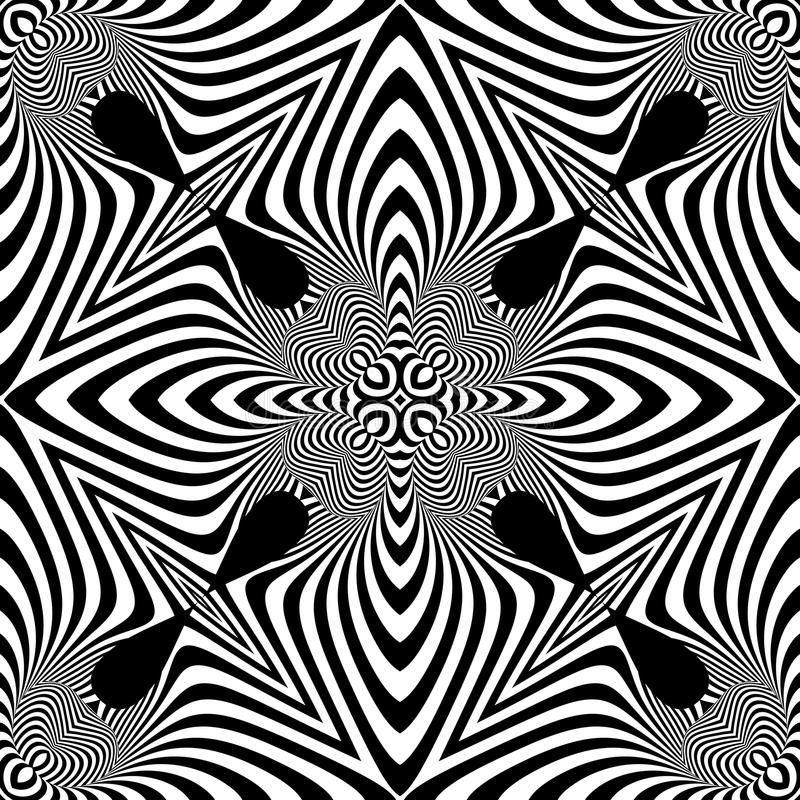 Design seamless monochrome illusion pattern. Abstract striped background. Vector art vector illustration
