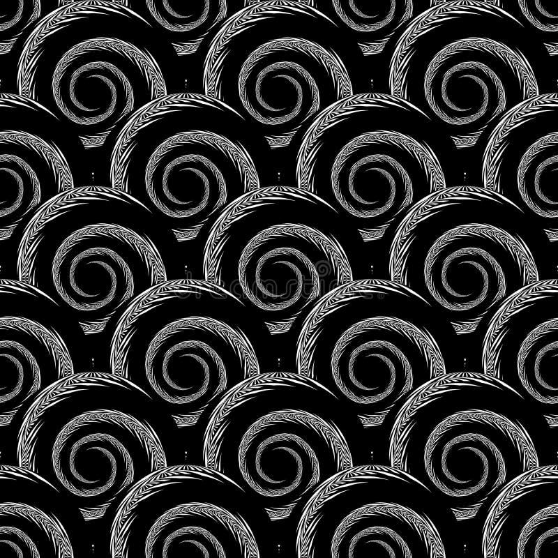 Design seamless monochrome spiral pattern. Diagonal textured background. Vector art stock illustration