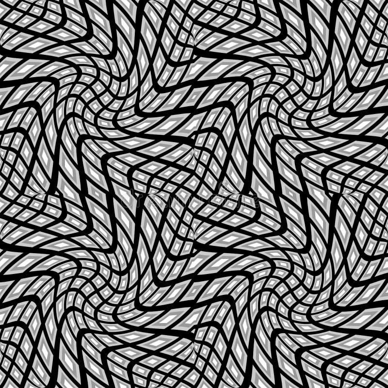 Design seamless monochrome warped pattern stock illustration