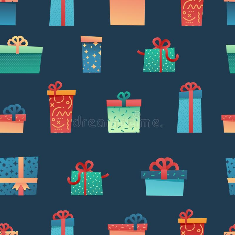 Design seamless pattern for christmas background and Wrapping paper. Wallpaper with illustration present and gift box royalty free illustration
