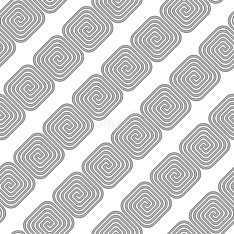 Design seamless spiral pattern. Abstract monochrome background. Vector art. No gradient vector illustration