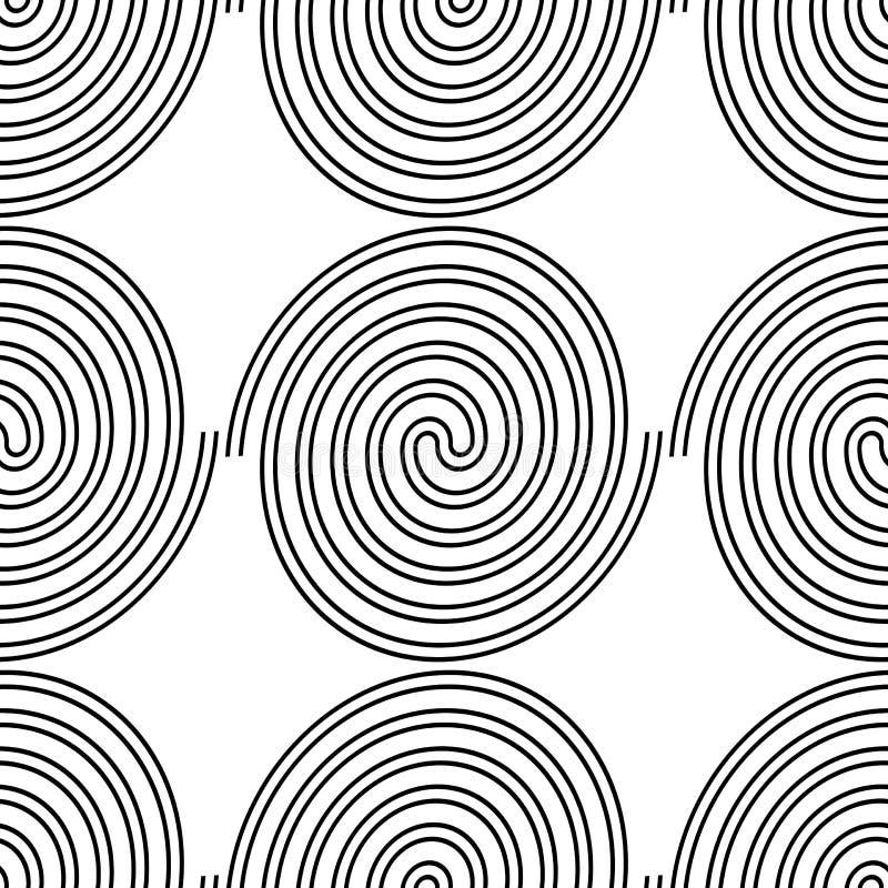 Design seamless spiral pattern. Abstract monochrome background. Vector art. No gradient stock illustration