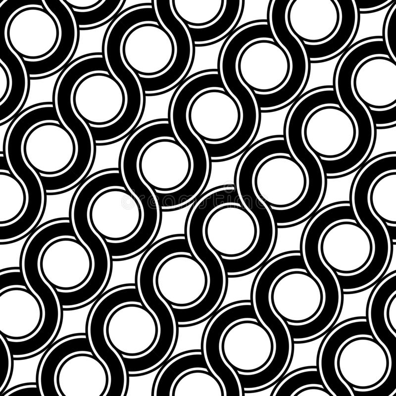 Design seamless spiral twisted pattern. Abstract monochrome circle background. Vector art stock illustration