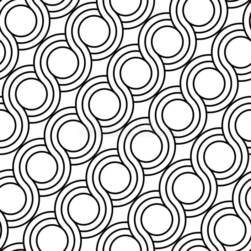 Design seamless spiral twisted pattern. Abstract monochrome circle background. Vector art vector illustration