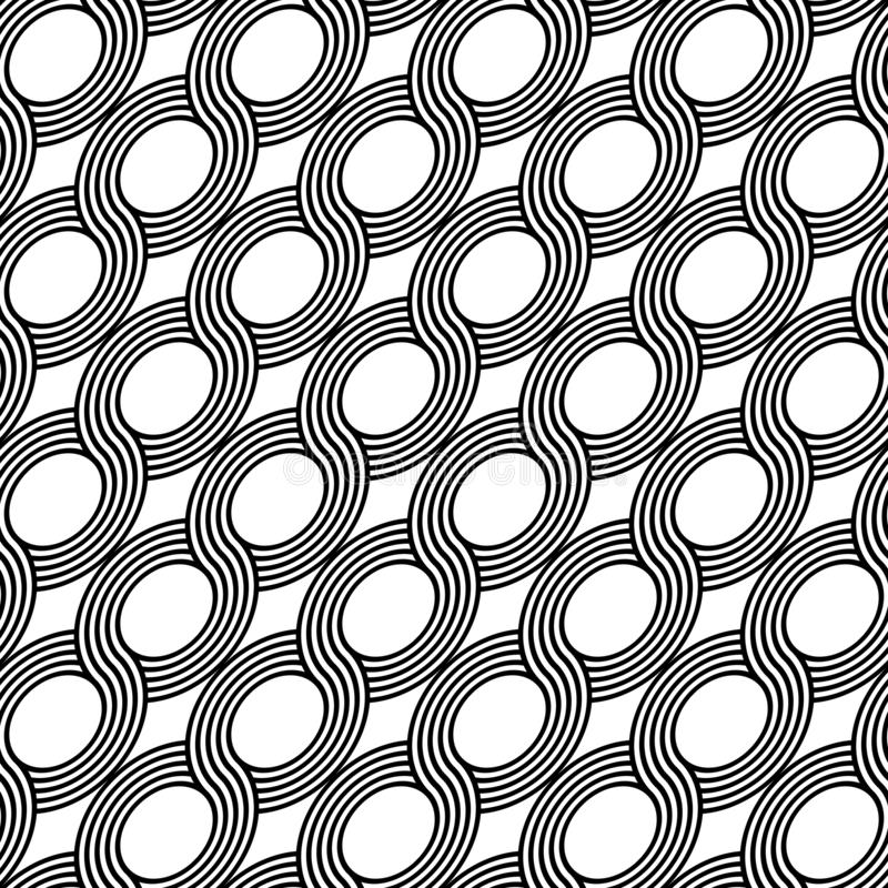 Design seamless spiral twisted pattern. Abstract monochrome ellipse background. Vector art royalty free illustration