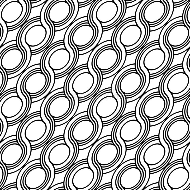 Design seamless spiral twisted pattern. Abstract monochrome ellipse background. Vector art stock illustration