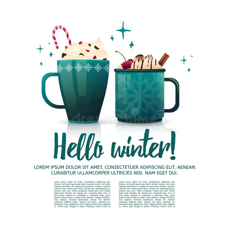 Design seasonal banner Hello winter. A poster template with a couple of hot beverage mugs. Christmas drinks with coffee vector illustration