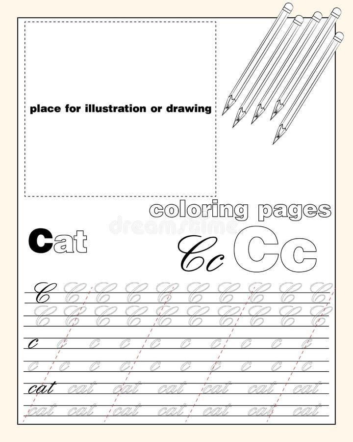 Design_3_the-Seitenaufstellung des englischen Alphabetes zum Unterrichten von die schreibenoberen und Kleinbuchstaben mit einem P vektor abbildung