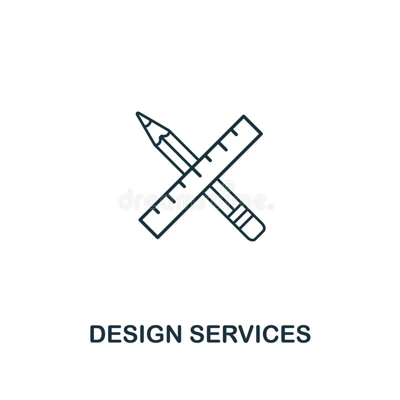 Design Services icon. Thin outline style from design ui and ux icons collection. Creative Design Services icon for web vector illustration