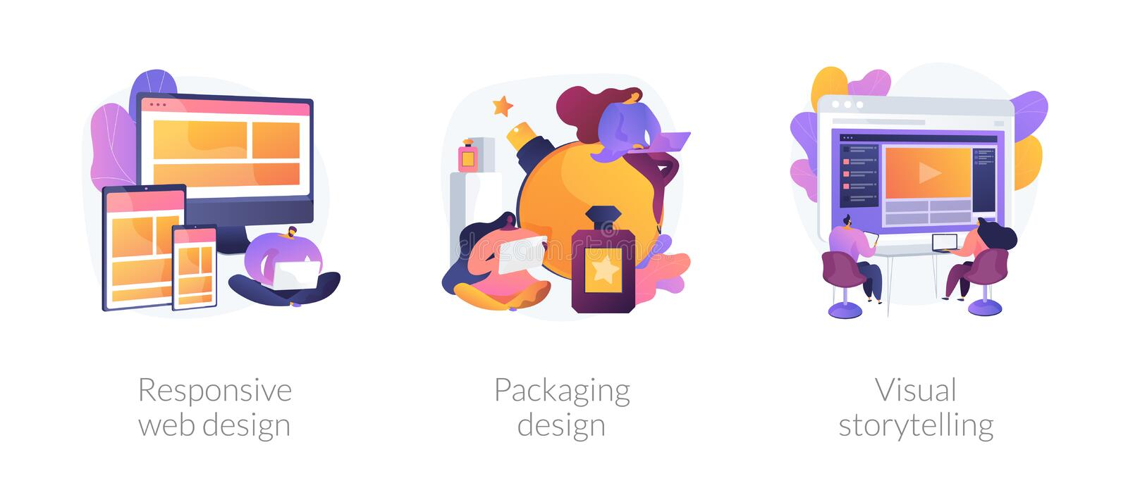 Design services vector concept metaphors. Cross platform development, brand development, content marketing icons set. Responsive web design, packaging design vector illustration