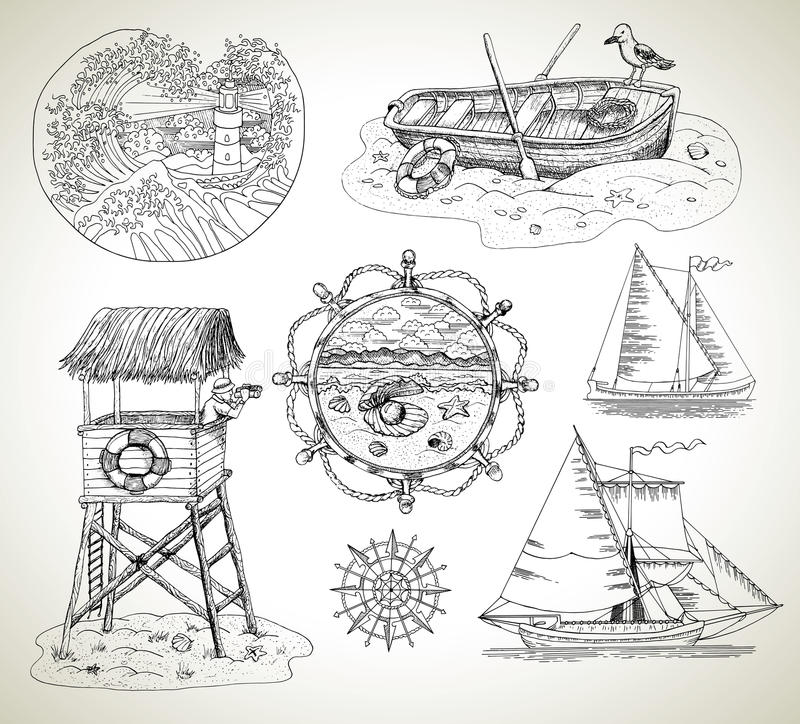 Design set with boats, light house and sea vintage elements royalty free illustration
