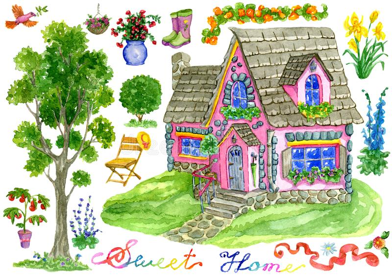 Design set with cute pink old house, garden objects, flowers and lettering isolated on white royalty free illustration