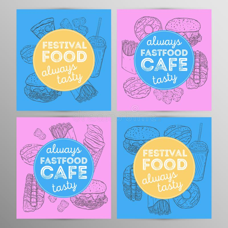 Design set fastfood cafe.Restaurant brochure,flyer.Hand drawn graphic. Vector illustration royalty free illustration