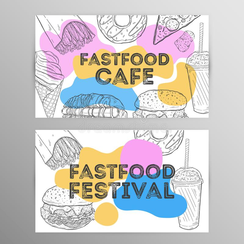 Design set fastfood cafe.Restaurant brochure,flyer.Hand drawn graphic. Vector illustration stock illustration