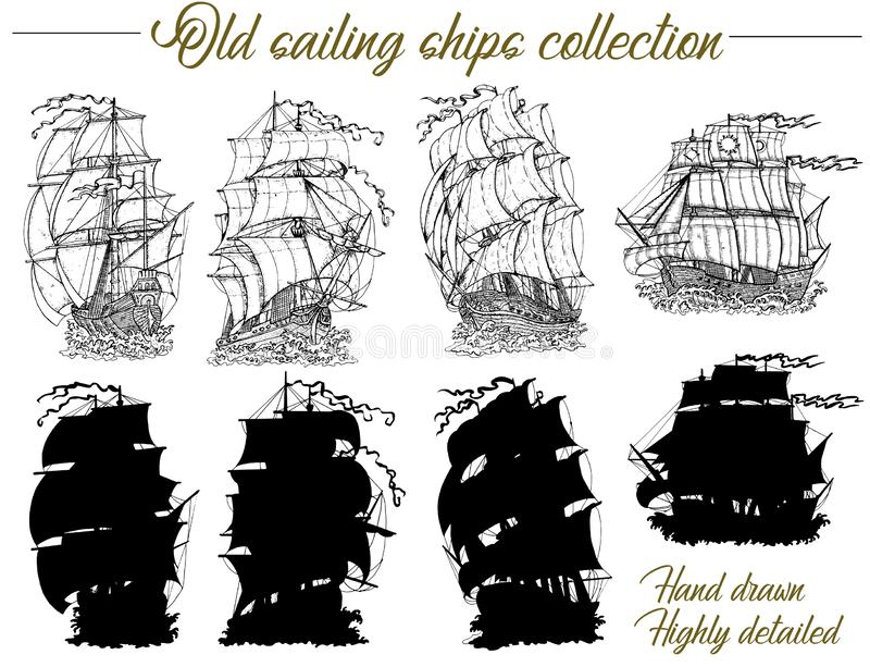 Design set with old sailing ships, ancient vessel and sailboat silhouettes. Vector nautical illustration, historical adventure concept, t-shirt graphic design in royalty free illustration