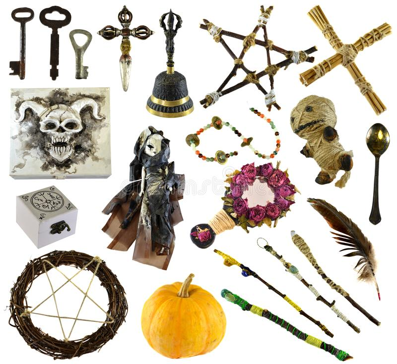 Design set with ritual objects with voodoo doll, pentagram, pumpkin isolated on white. Wicca, esoteric, divination and occult concept with vintage magic stock photography