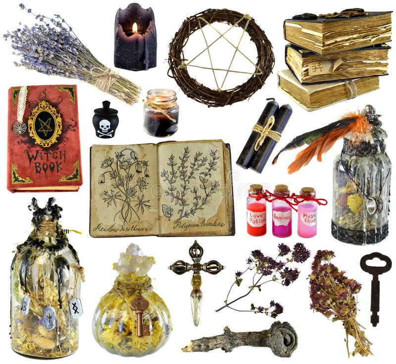 Design set with witch book, magic bottle, herbs, black candle isolated on white royalty free stock photos