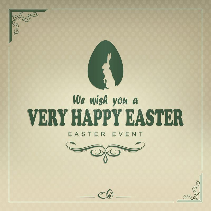 Design with egg, rabbit and happy Easter text stock illustration