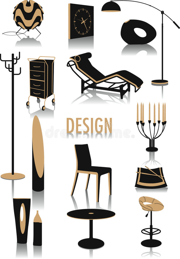 Download Design silhouettes stock vector. Image of furniture, luxury - 5854029