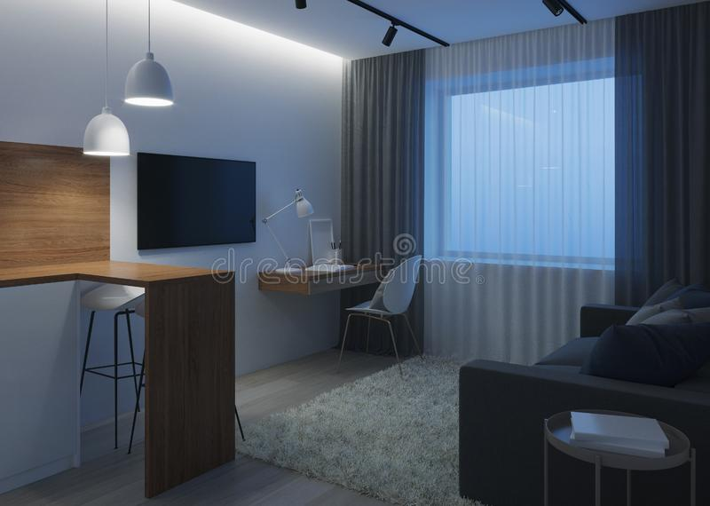 Design a small room with a sofa. Night. Evening lighting. royalty free stock photography