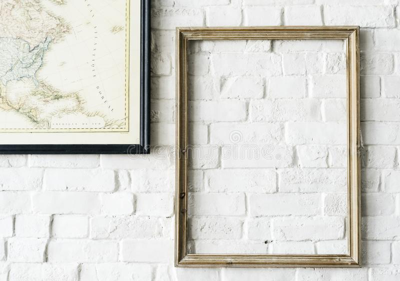 Design Space Of Photo Frame Hanging On The Wall Stock Image - Image ...