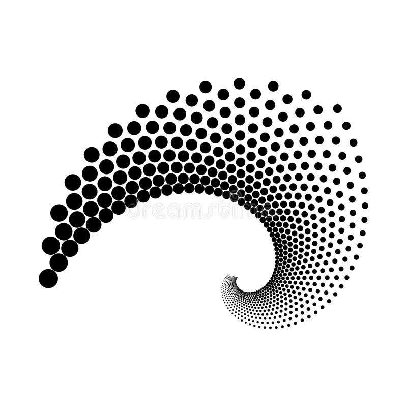 Design spiral dots backdrop. Abstract monochrome background. Vector-art illustration. No gradient stock illustration