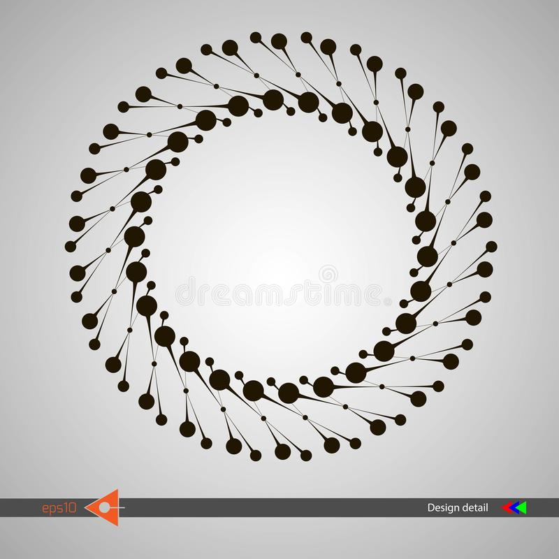 Design of spiral lines and dots. Abstract monochrome round background. Vector illustration without gradient. stock illustration