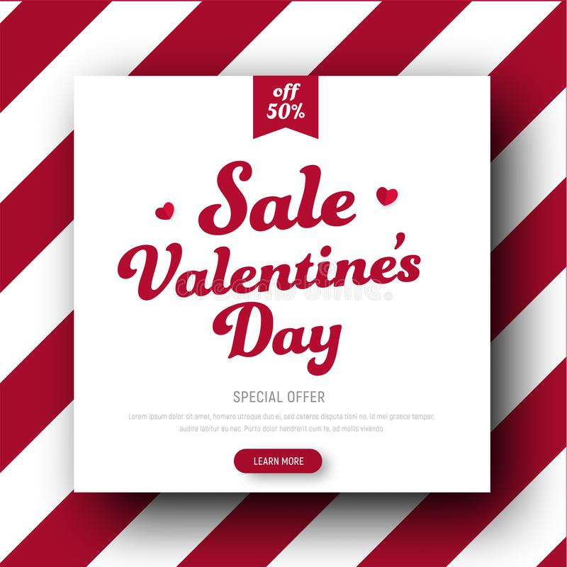 Design of a square banner for Sale On Valentine`s Day stock illustration