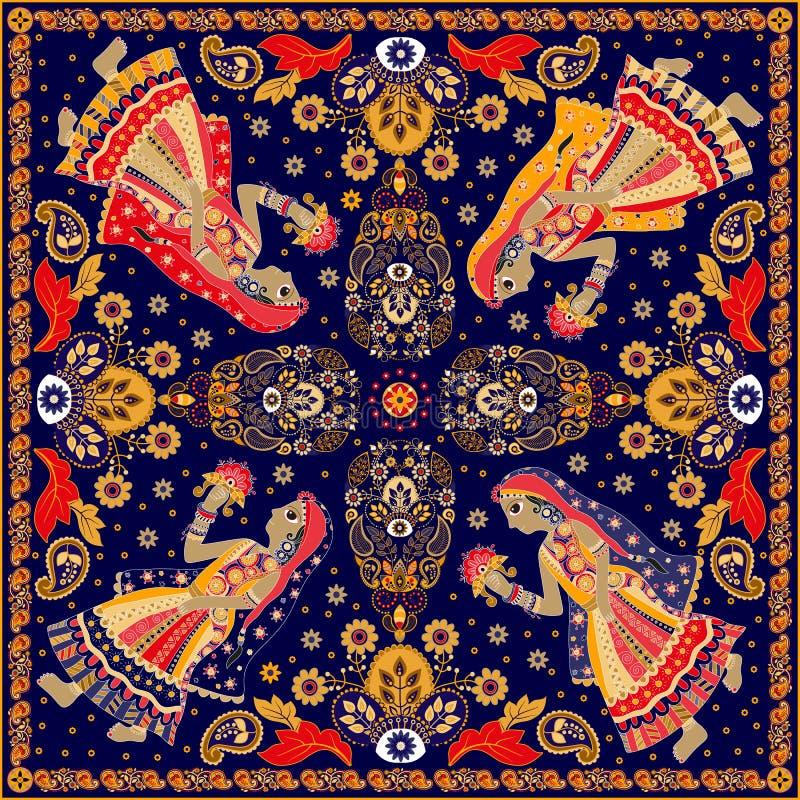 Design for square pocket, shawl, textile stock illustration