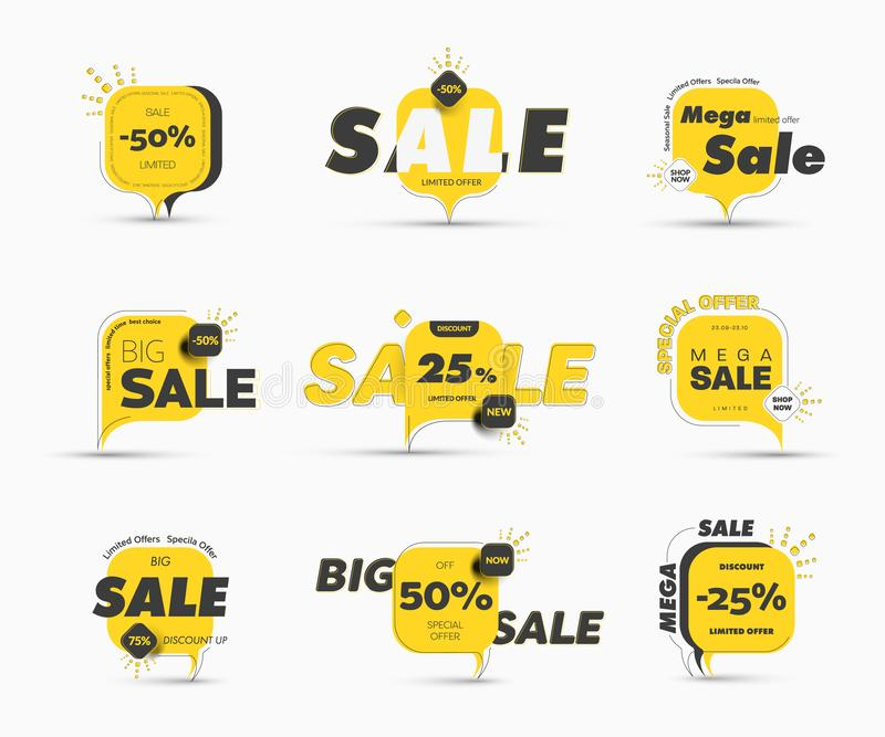 Design of square vector banner with rounded corners on the leg for mega big sales and seasonal discounts. Yellow tag templates with percentages and special stock illustration