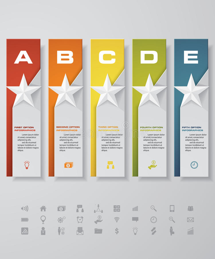 Free Design Star Number Banners Template. With Set Of Business Icons. Stock Photos - 77247203