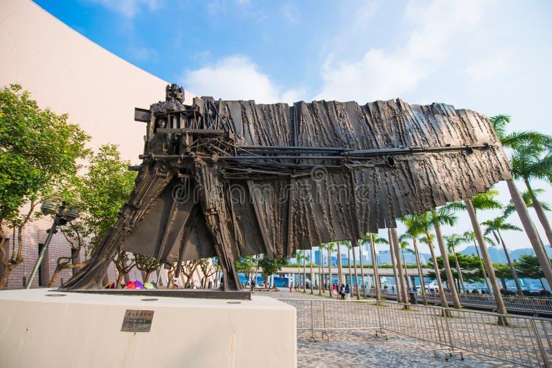 Design statue at Hong Kong Cultural Centre royalty free stock photos