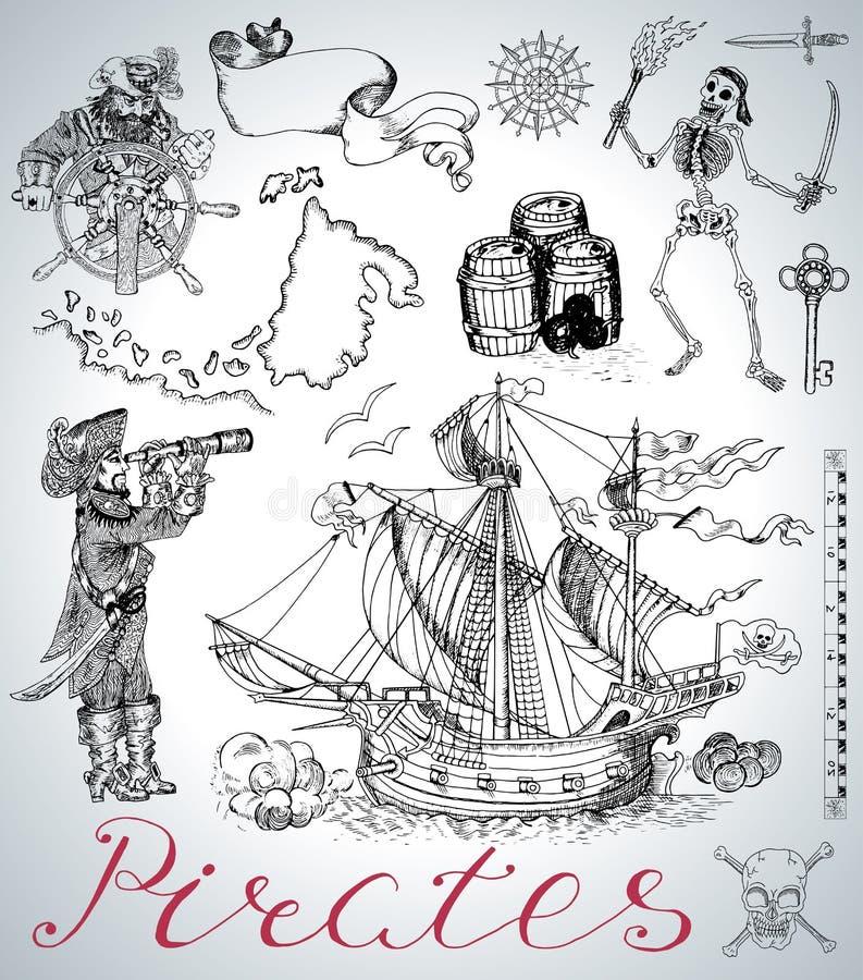 Design stellte mit Piraten-, Schiffs-, Skelett- und Weinleseseesymbolen ein lizenzfreie abbildung