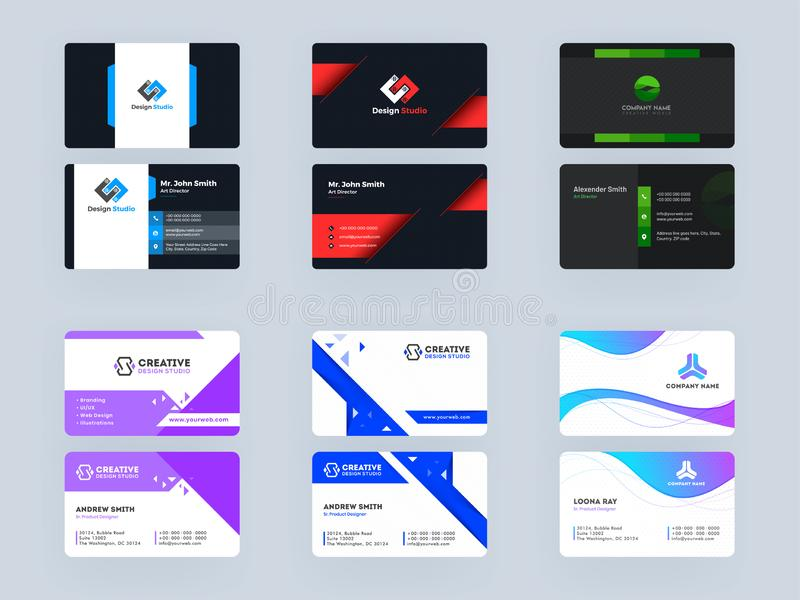 Design Studio or Designers Business Card Template or Visiting Card Design. Set royalty free illustration