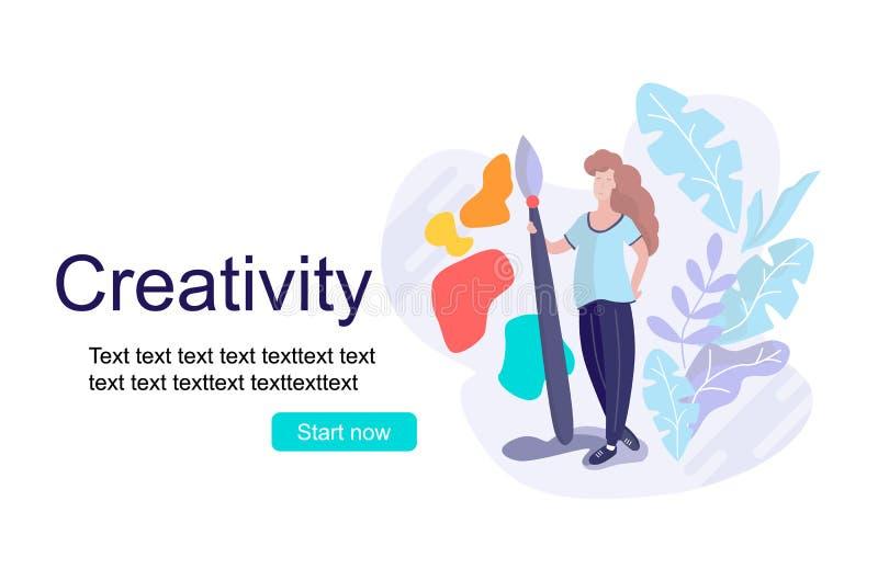 Design studio, designing, drawing, graphic design, creativity, ideas minimal flat vector illustration. Online courses, books, tuto royalty free illustration