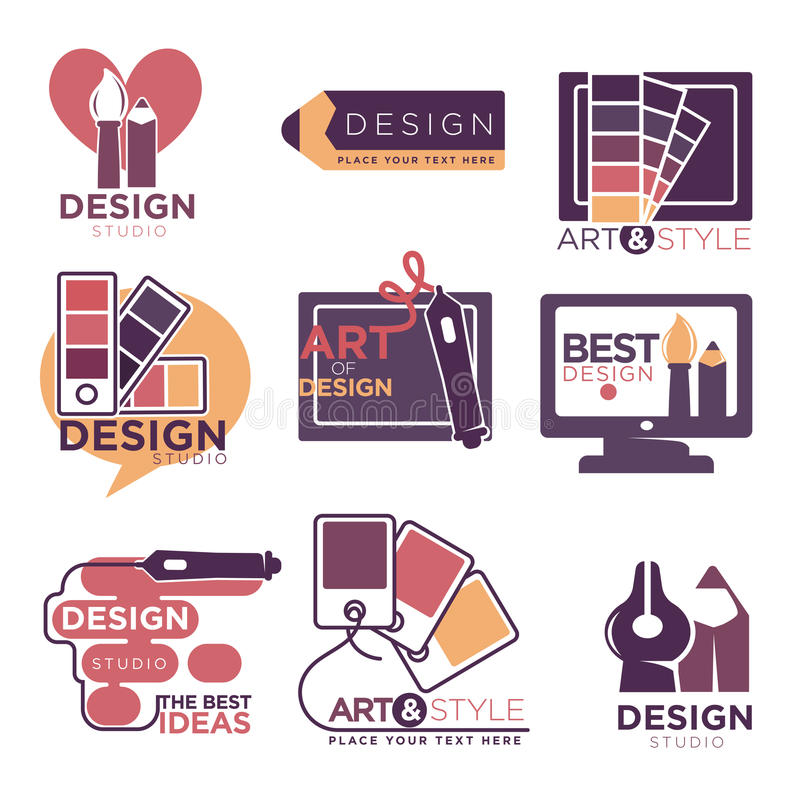 Design studio logo labels collection isolated on white royalty free illustration