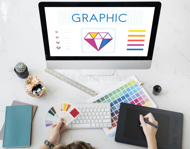 Design Style Graphic Creativity Ideas Illustration Concept. Woman Drafting Computer Design Style Graphic Creativity Ideas Illustration royalty free stock images