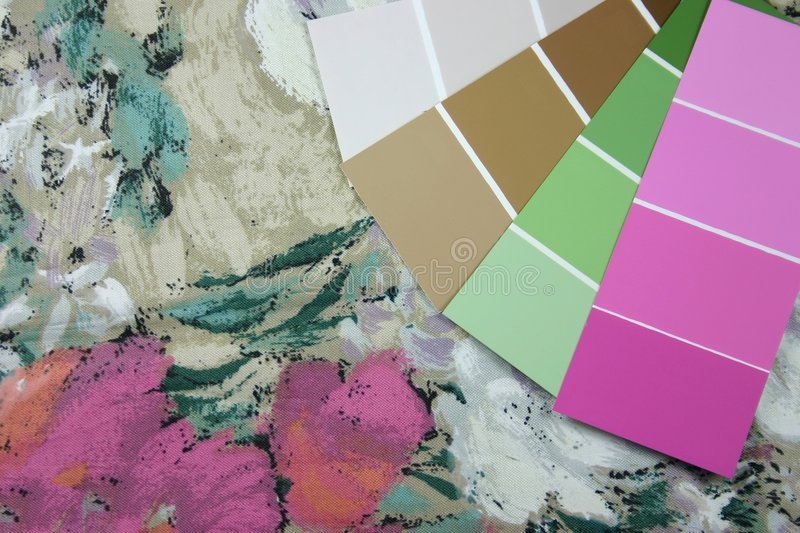 Design Swatches. Curtain fabric and paint swatches for interior design stock images