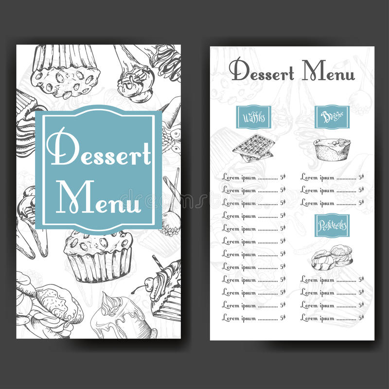 Design for sweets shop. Template with different hand drawn desserts. Menu design for bakery or baking shop. Design for sweets shop. Template with different hand royalty free illustration