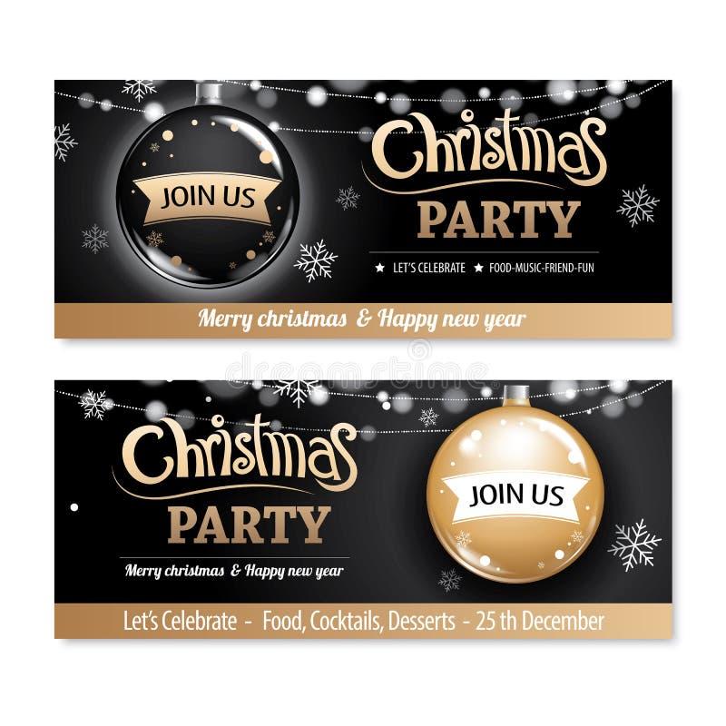 Design t för baner och för kort för affisch för parti för glad jul för inbjudan vektor illustrationer