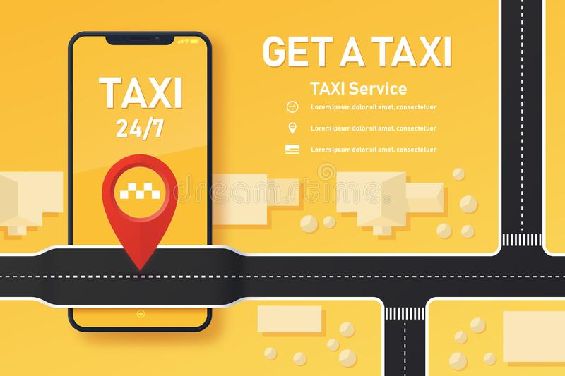 Design of taxi mobile application. royalty free illustration