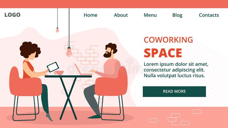 Coworking Group of Creative Man and Woman Banner. Design Team Creative Man and Woman Sitting at Desk Working in Coworking Space Studio, Office Employees Business vector illustration