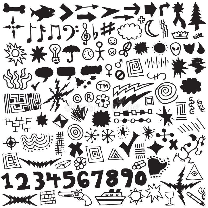 design tecknad set unik vektor för elementhand stock illustrationer