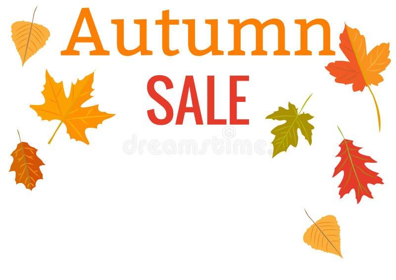 Design template. Autumn sales. Yellow autumn leaves stock illustration
