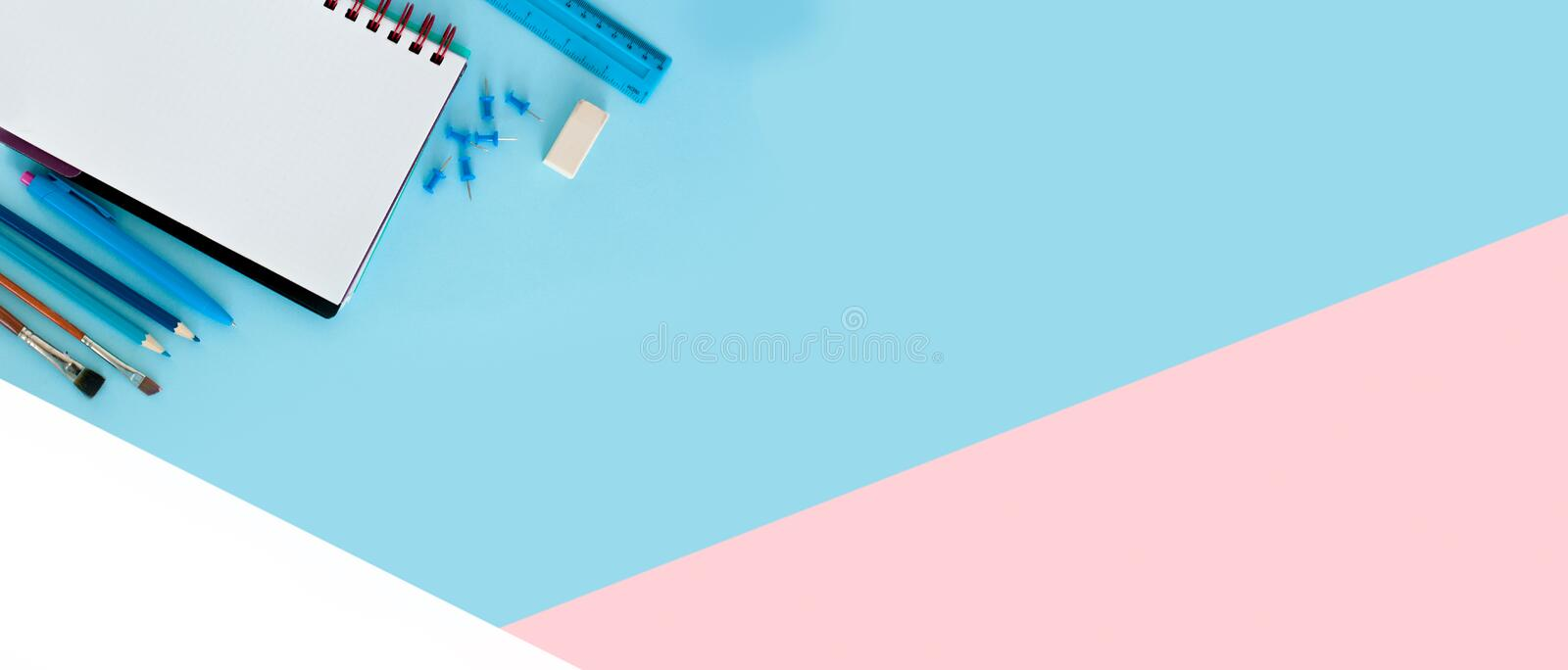 Design template for Back to school. Office school supplies. Creative Idea of education for banners. Sale posters. stock images